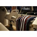 "OCEAN ONE Fleecedecke ""Stripes""/ navy-rot-grau"